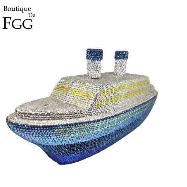 Boutique De FGG Women's Fashion 3D Ship Steamer Crystal Clutch Evening Bag Women Metal Clutches Minaudiere Wedding Handbag Purse