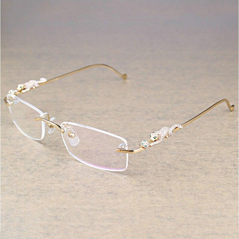 Vintage Leopard Rimless Clear Glasses Stone Transparent Glasses Frame Luxury Eyewear Men Accessories Oculos Eyeglasses 6384