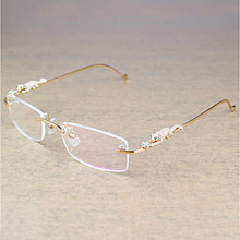 Vintage Leopard Rimless Clear Glasses Stone Transparent Frame Luxury Eyewear Men Accessories Oculos Eyeglasses 6384
