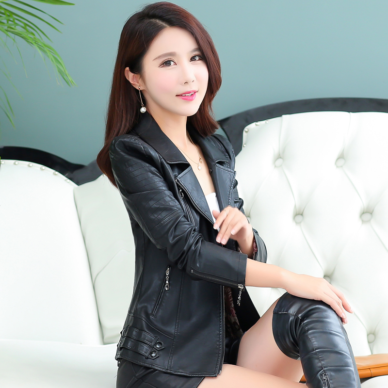 Q IMAGE Spring and autumn female leather clothing slim leather ...