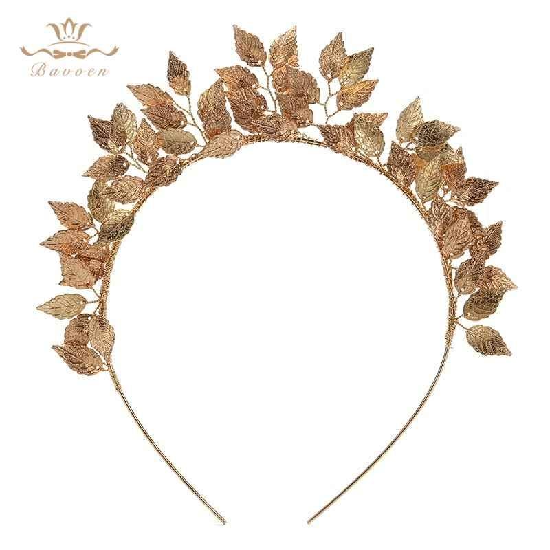 European Leaf Flower Ring Hoop Crowns Gold Headband Bride Headdress Flower Head wear Wedding Hair Accessories