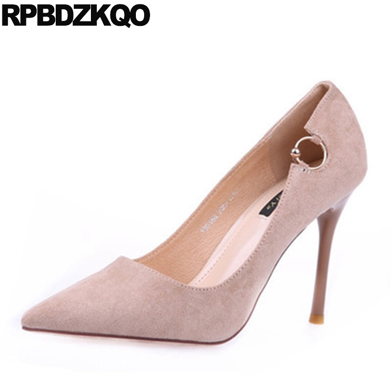 Elegant Autumn Modern Shoes Work Pointed Toe Nude Female New Women Metal Fashion Heels Chic Sexy Scarpin Size 4 34 Suede Spring women in the summer of 2018 the new patent leather nude wedges pointed toe pump work shoes leisure women plus size 35 40 a23