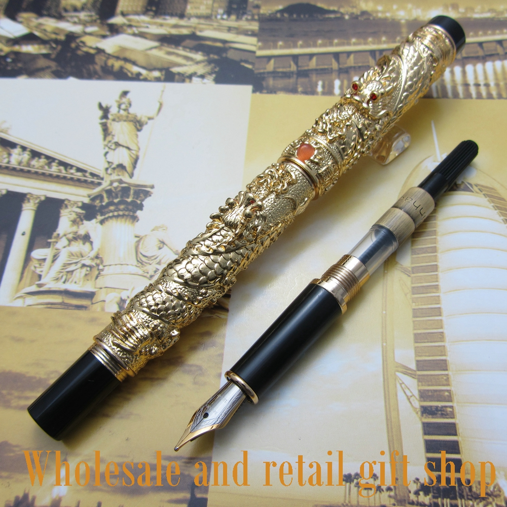 Jinhao A500 Metal Gift Ink Pen Chinese double Dragons Playing with The Pearl Beautiful high quality Fountain Pen jinhao a500 metal gift ink pen chinese double dragons playing with the pearl beautiful high quality fountain pen
