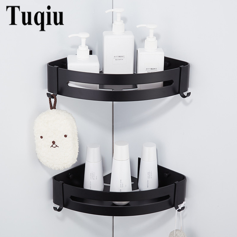 Corner Shelf Wall Mounted Black Aluminum Bathroom Soap Dish Bath Shower Shelf Bath Shampoo Holder Basket Holder Corner shelf