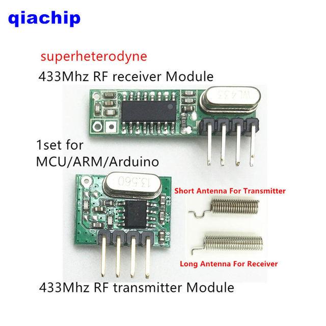 1 ensemble RF module 433 Mhz superhétérodyne récepteur et transmetteur kit avec antenne pour Arduino uno bricolage kits 433 mhz télécommande