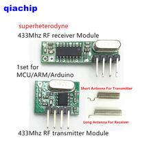 1 set modulo RF 433 Mhz superheterodyne ricevitore e trasmettitore kit con antenna Per Arduino uno kit Fai Da Te 433 mhz Remote controllo