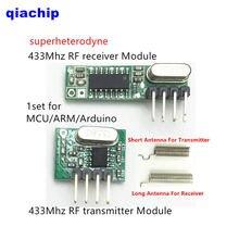 1 takım RF modülü 433 Mhz süperheterodin alıcı ve verici kiti Arduino Için anten ile uno Diy kitleri 433 mhz uzaktan kumanda