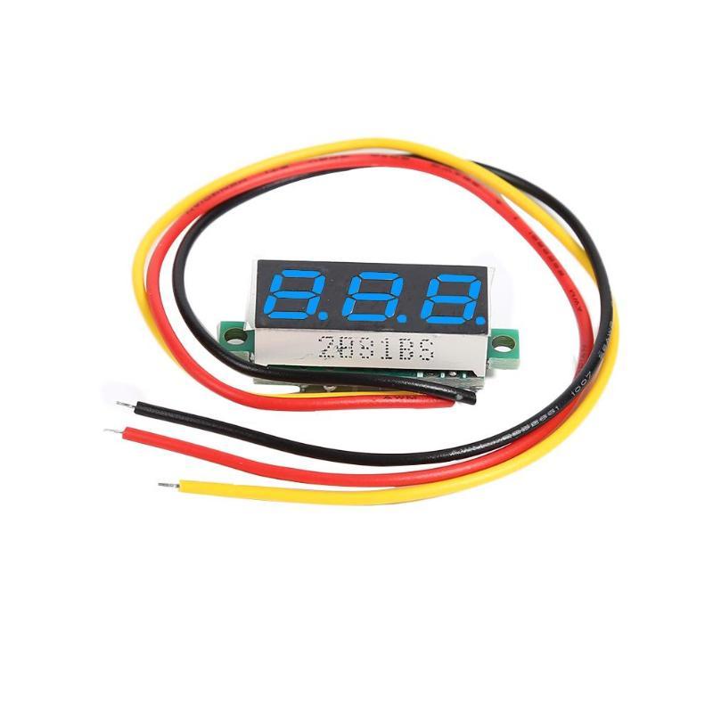 Digital Voltmeter 0.28 Inch Ultra Small Digital Dc Digital Display Adjustable Three Line Dc0-100v Battery Voltmeter 2/3-Line