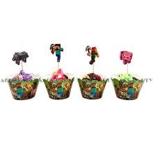 12 Sets Lot Minecraft Children s Birthday Parties for Dessert Cake Decoration Minecraft Edge Insert Card