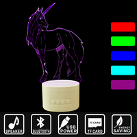3D lights Bluetooth speakers music LED night lights home lighting TF card USB rechargeable Desktop Lamp unicorn shape IY803801