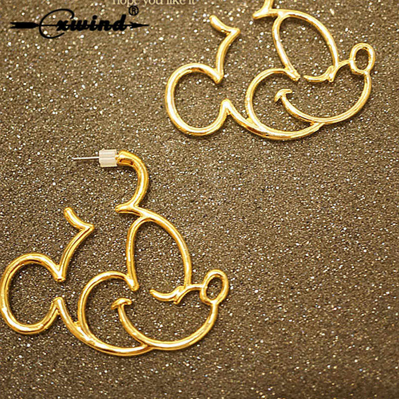Cxwind New Cute Cartoon Mickey Design Stud Earrings For Women Girl  Kids Geometric Animal Angel Heart Rabbit Earring Brincos