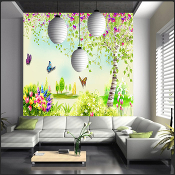 Fantasy fashion 3D stereo large mural beautiful wallpaper flower butterfly pattern living room sofa TV background wallpaper