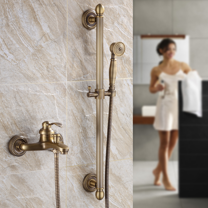 Simple Bathroom And Bathtub Faucet Retro Antique Copper Shower Set Shower Head Wall Mount Bathroom Shower Accessories