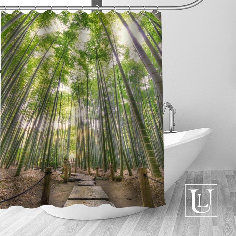 Bamboo Background Shower Curtains Custom Design Creative Shower
