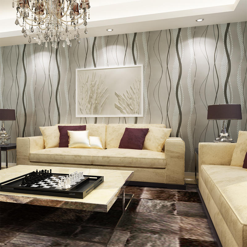 Hanmero removable modern simple wallpaper silver color eco for Silver wallpaper living room