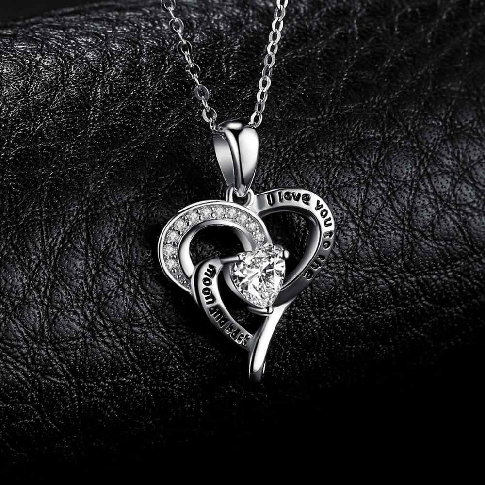 I Love You подвеска в виде Луны и спины, ожерелье из стерлингового серебра 925 пробы, Серебряное колье, ожерелье для женщин, сер