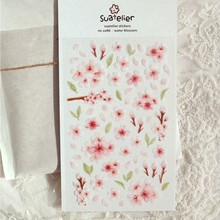 Decorative Stickers Notebook Sakura Planner Embellishement Flowers Pink Cute DIY Light