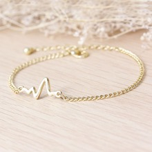 Heartbeat Rhythm Chain Bracelet with Dangling