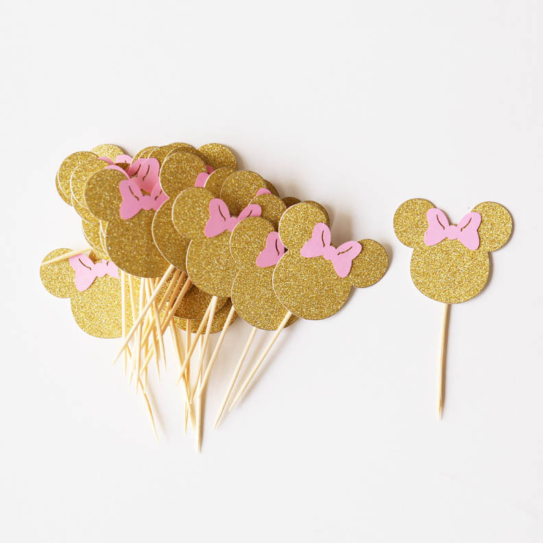 set of 24pcs Gold Minnie Head and Pink Bow, Minnie Mouse ...