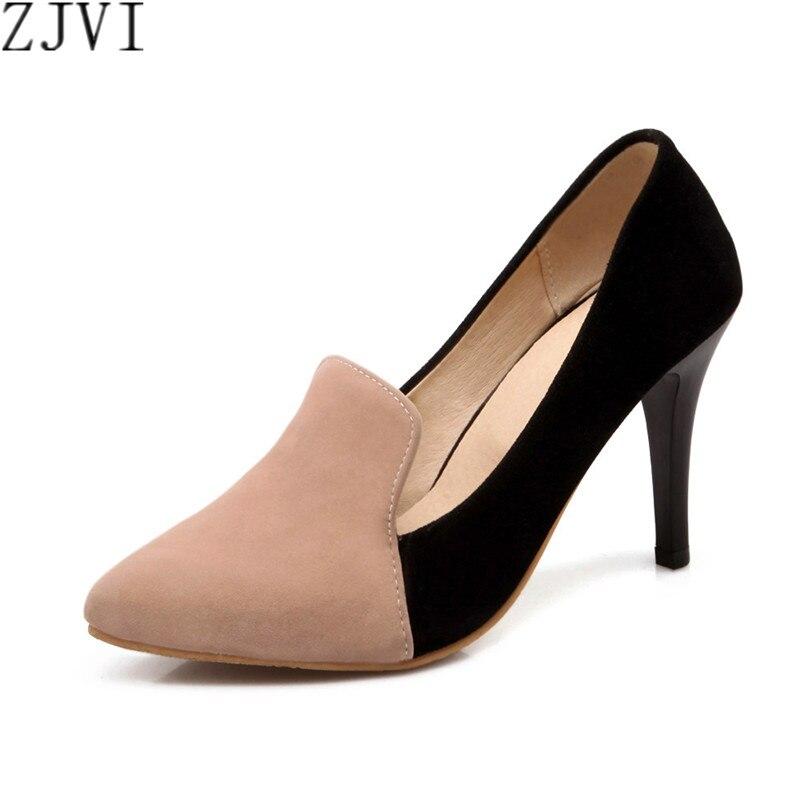 ZJVI women fashion nubuck thin high heels pumps woman pointed toe shoes womens mixed colors autumn