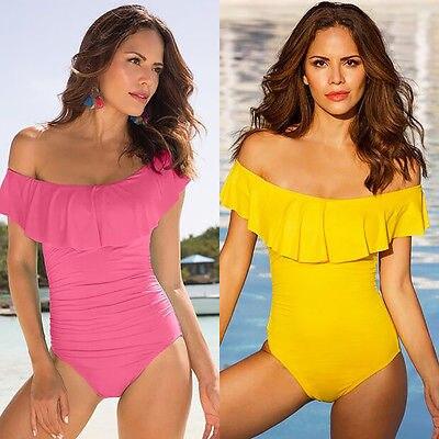476b75f254158 Sexy Off Shoulder Swim Wear Lady High Cut Bathing Suit Ruffle Plus Size  Monokini Thong Swimwear Women Swimsuit
