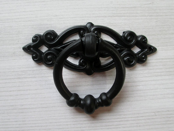 Superieur Black Shabby Chic Dresser Drawer Pulls Knobs Handles Drop Ring / Cabinet  Knobs Handle Pull Knob Antique Furniture Decorative In Cabinet Pulls From  Home ...
