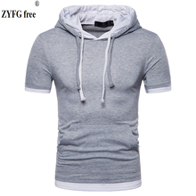 Male casual Hooded t shirt pockets Tees 2018 Fake two pieces O-neck short-sleeved patchwork slim t-Shirt men Tops EU size S-XXL все цены