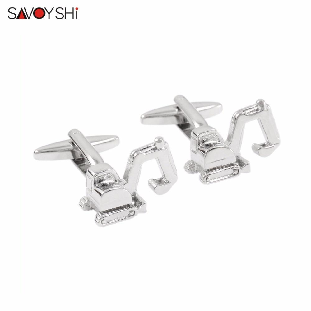 SAVOYSHI 3D екскаватор модел ръкавели за мъжка риза маншети копчета висококачествени новост копчета за ръкавели марка младоженец дизайн бижута