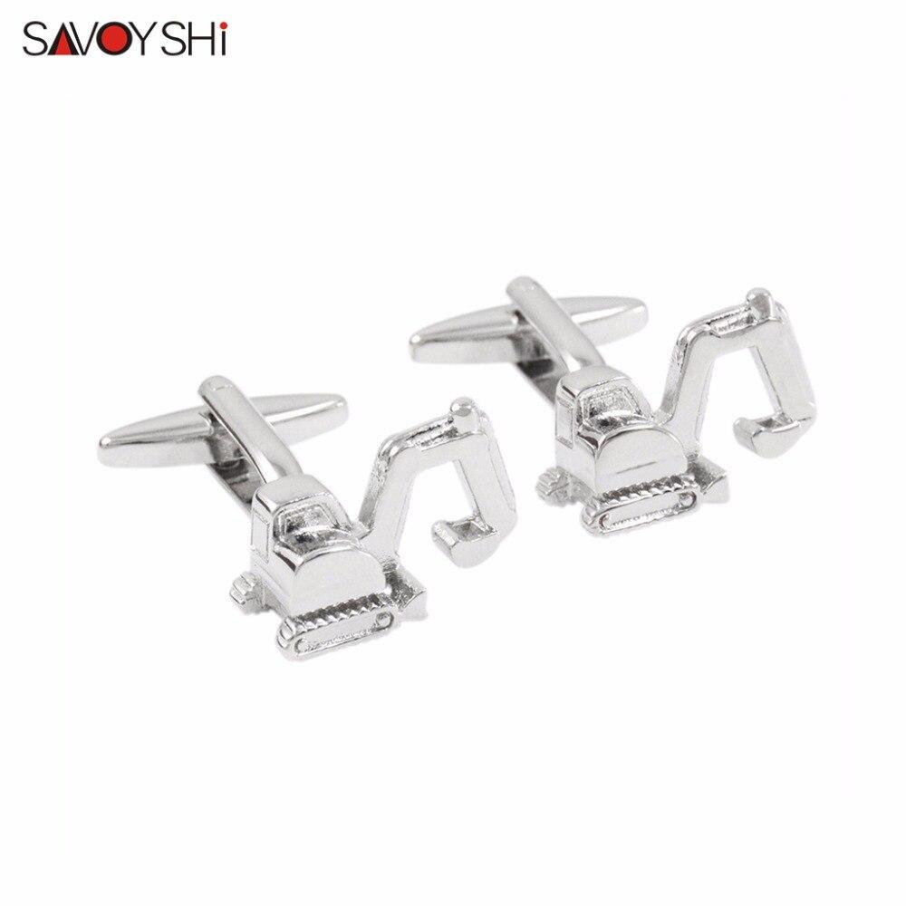SAVOYSHI 3D Excavator Model Cufflinks For Mens Shirt Cuff Buttons High Quality Novelty Car Cufflinks Brand Groom Jewelry Design