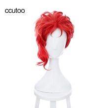 """Ccutoo Kakyoin Noriaki из Джоджо, 14 """"красные вьющиеся короткие высокотемпературные синтетические волосы, парик для косплея"""
