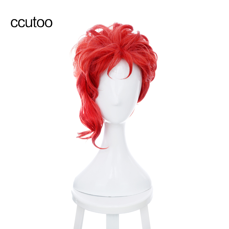 "ccutoo Kakyoin Noriaki Från JOJO 14 ""Röd Curly Short High Temperature Fiber Syntheitc Hår Cosplay Wig"