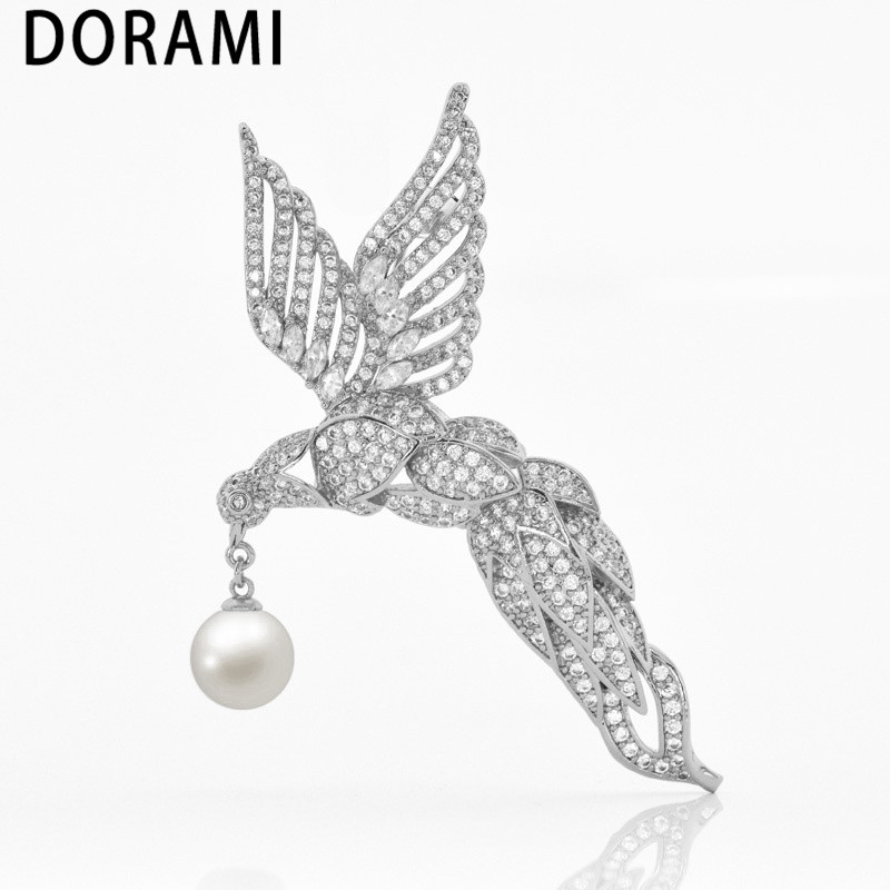Brooches Real-Pearl Golden High-Quality Party Women Animal for with Unique Noble Phoenix