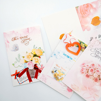 10Pcs/lot 7*10.4CM Cute flowers blessing small greeting card Birthday Wedding New Year Gift Cards japan genuine 2019 new year cute kawaii mascot zodiac lucky blessing pig cat figure decortion desktop