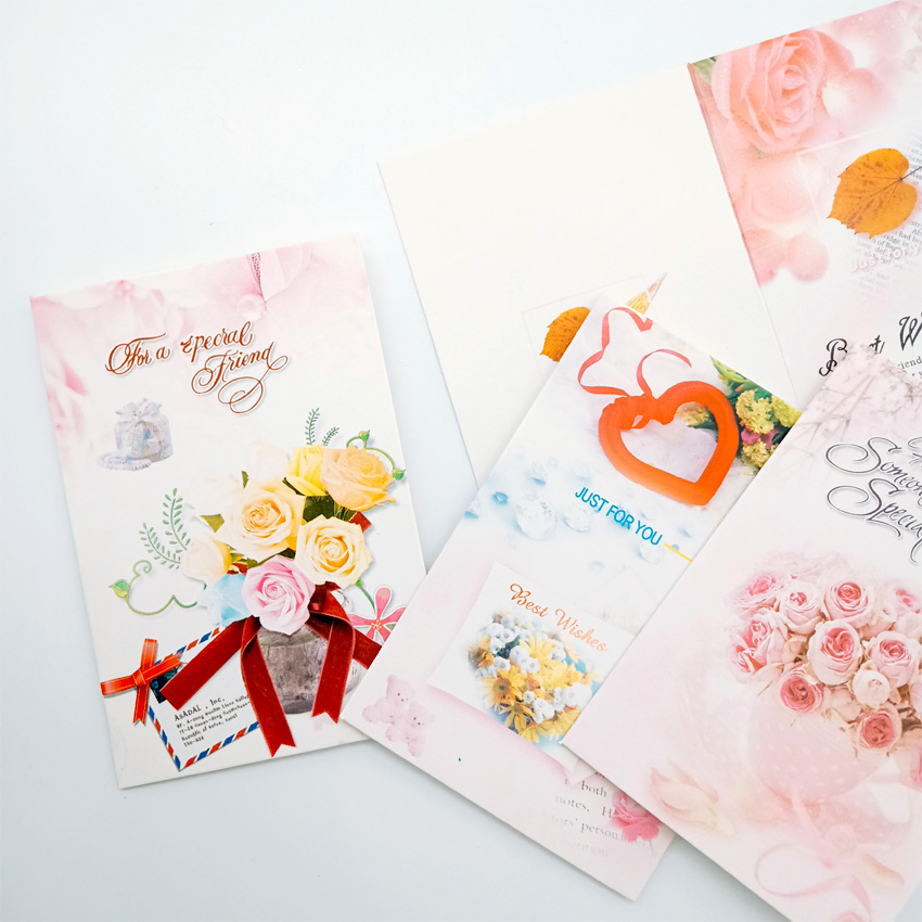 5Pcs/lot 7*10.4CM Cute flowers blessing small greeting card Birthday Wedding New Year Gift Cards
