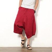 Тайские брюки молодежные шаровары мужские свободные льняные шорты Непальские шорты широкие большие редиские пляжные брюки летние