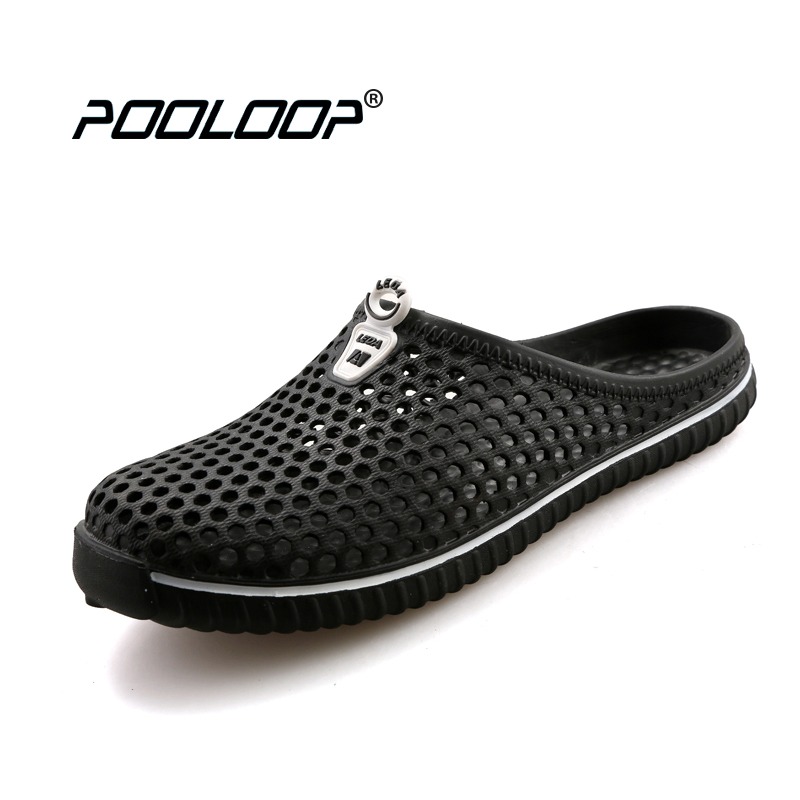 POOLOOP Comfortable Men Pool Sandals Summer Outdoor Beach Shoes men Slip On Garden Clogs Casual Water Shower Slippers Unisex summer women mules clogs wedge sandals garden shoes handmade artifical pearl slippers jelly color casual original beach sandals