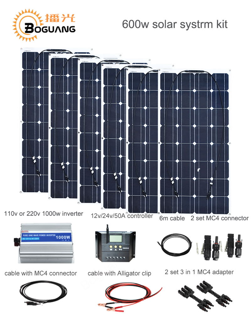 Boguang 600w solar DIY kit system 100w solar panel 50A controlle MC4 connector adapter cable for 12v battery RV yacht car charge boguang 40w flexible solar panel mc4 connector high efficiency solar cell solar module for rv boat yacht motor home car