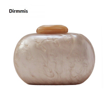 цена на New Brand Fashion Wallet Women Acrylic Cute Round Evening Bag Woman Beige Solid Marble Luxury Party Prom Handbag Casual Clutch