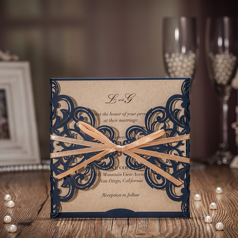 50 pcs Navy Blue Business Invitation card with Gold Ribbon bow knot decorate wedding invitation card, customize free