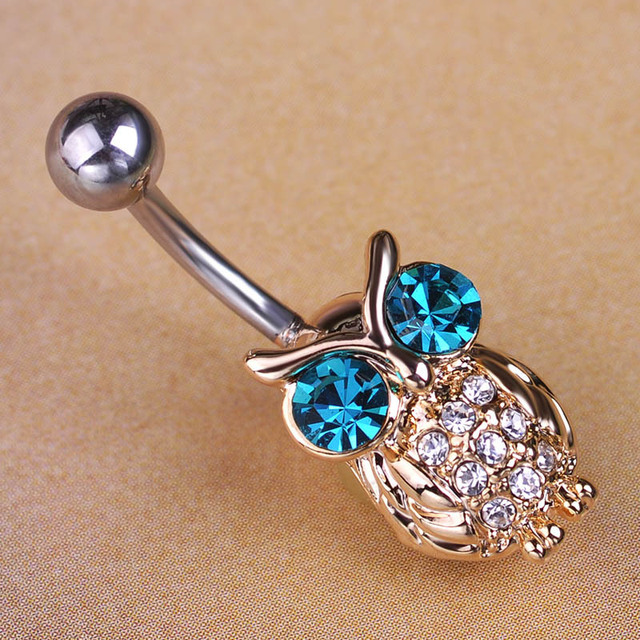 Owl Piercing Navel Belly Button Ring