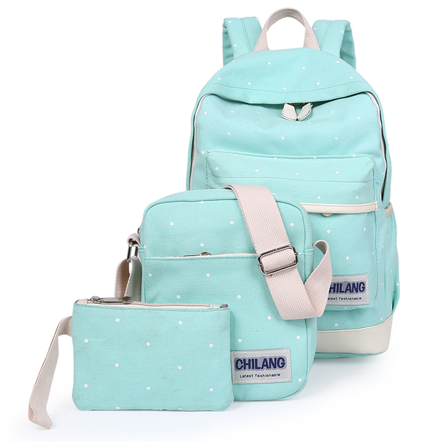 3Pcs/Sets Korean Casual Women Backpacks Canvas Book Bags Preppy Style School Back Bags for Teenage Girls Composite Bag 4