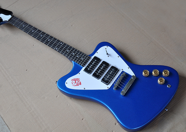 Factory Metal Blue Electric Guitar With Dots Frets Inlay3 P90