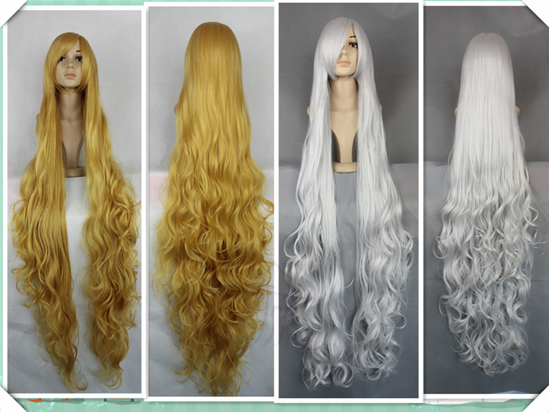Super Long Synthetic Wavy Wig 150CM Blonde Golden Silver Cosplay Sexy Party  Costume Hair d1b82e5cc