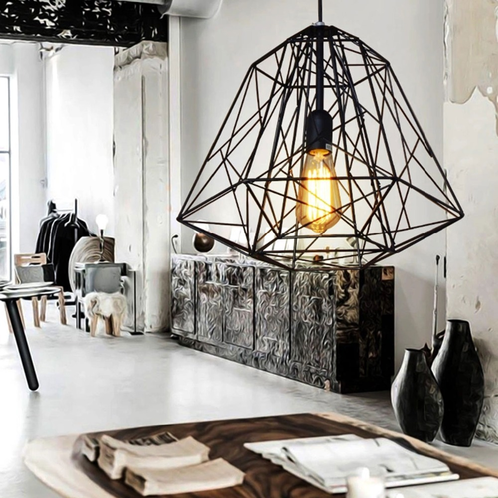 Nordic Diamond Vintage Loft Pendant Lamp Iron Cage Industrial Pendant Light Bar/Warehouse/Dining Hall Fixture Lighting new loft vintage iron pendant light industrial lighting glass guard design bar cafe restaurant cage pendant lamp hanging lights
