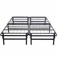 GOPLUS Queen Size Platform Metal Bed Frame Mattress Foundation Fodable Black Steel Bed Frame Bedroom Furniture HW51148