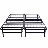 GOPLUS Queen Size Platform Metal Bed Frame Mattress Foundation Fodable Black Steel Bed Frame Bedroom Furniture HW51148