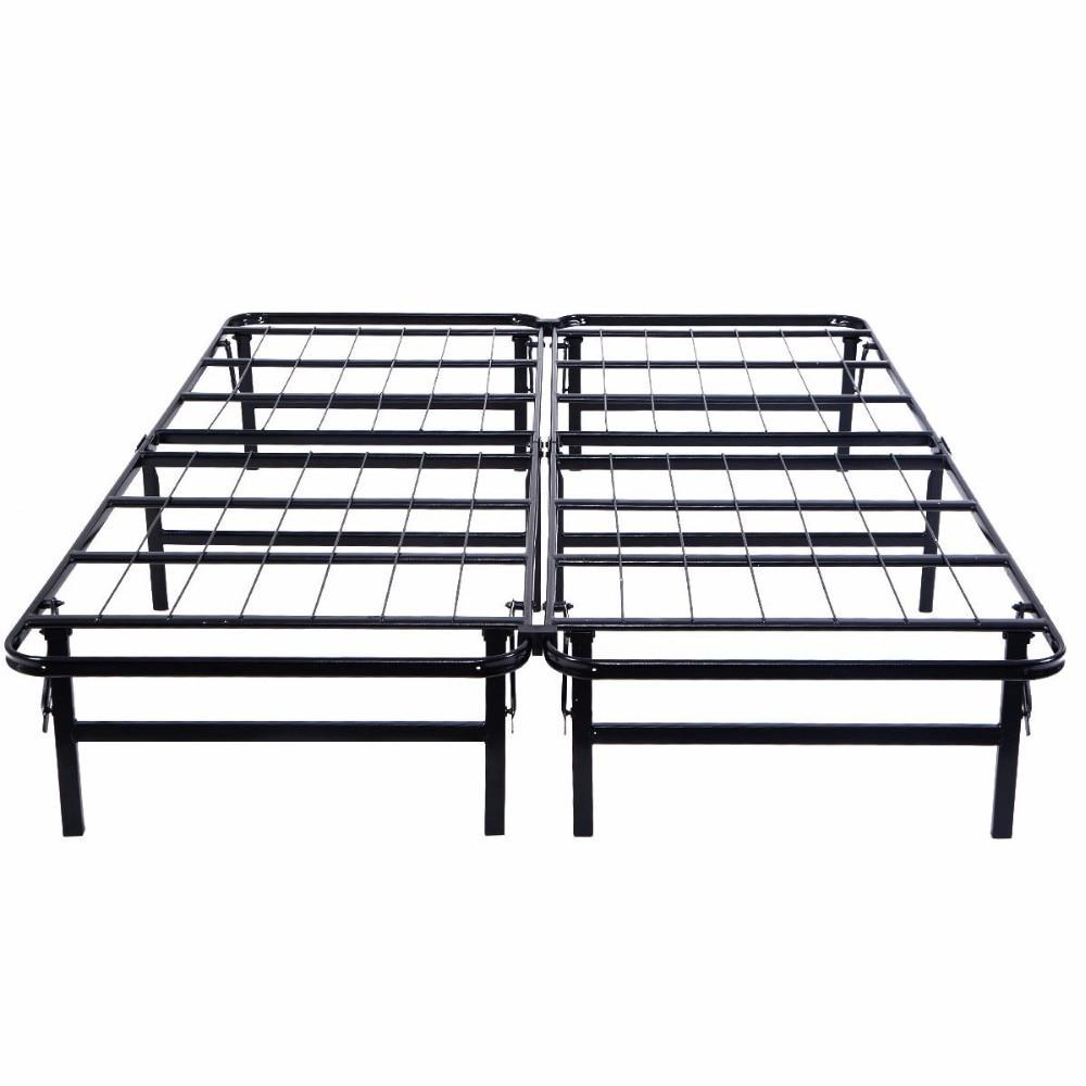 GOPLUS reine taille plate-forme en métal lit cadre matelas fondation pliable en acier noir cadre de lit chambre meubles HW51148