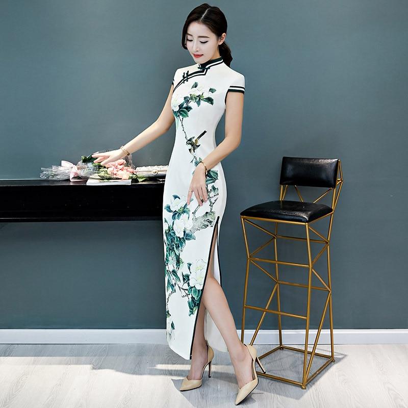 Longue Courtes À Slim Xl Style 3xl Col L 2012 Chinois Xxl Arrivée Taille Robe Nouvelle Cheongsam Blanc Manches Femmes Qipao Mandarin M OPukiXZT
