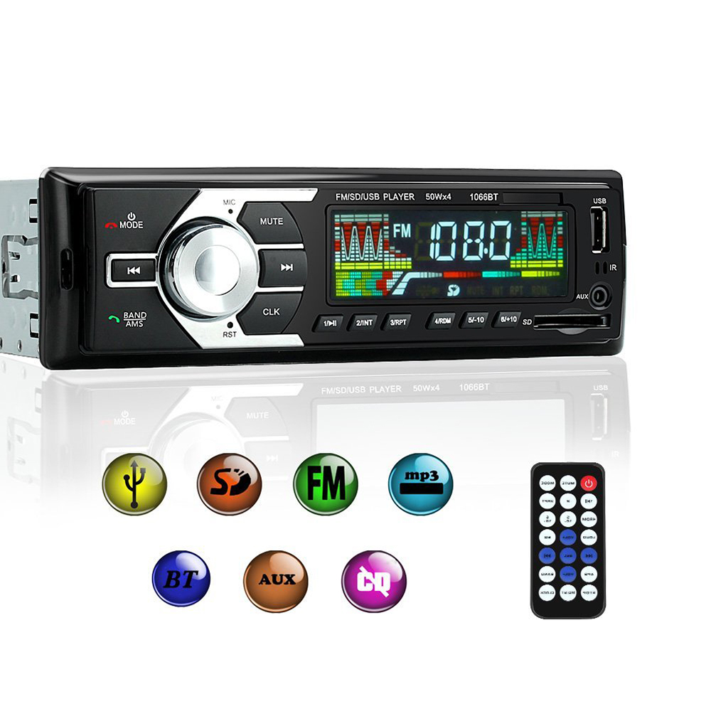 Car Stereo FM Radio MP3 Audio Player Support BT Phone with USB/SD MMC Port Car Electronics In-Dash 1 DIN Wireless Remote Control