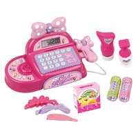 Mini Simulated Supermarket Checkout Counter Role Play Pink Bow knot Cash Register Set Kids Pretend Play Cashier Educational Toys